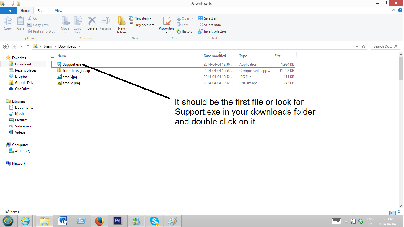 This is Step 3 for the alternative method to get your support ID